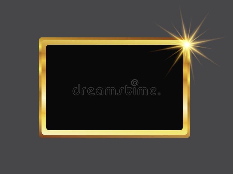 Rektangulär ribbad guld- ram med den ljusa åtta-pekade stjärnan stock illustrationer