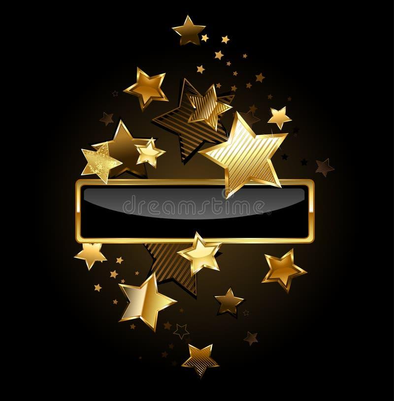 Rektangulärt baner med guld- stjärnor vektor illustrationer