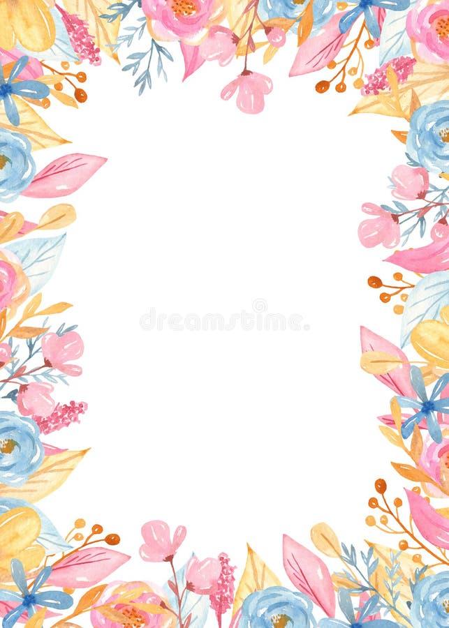 Rektangul?r guld- ram f?r vattenf?rg med blommor Romantisk enh?rningsamling royaltyfri illustrationer
