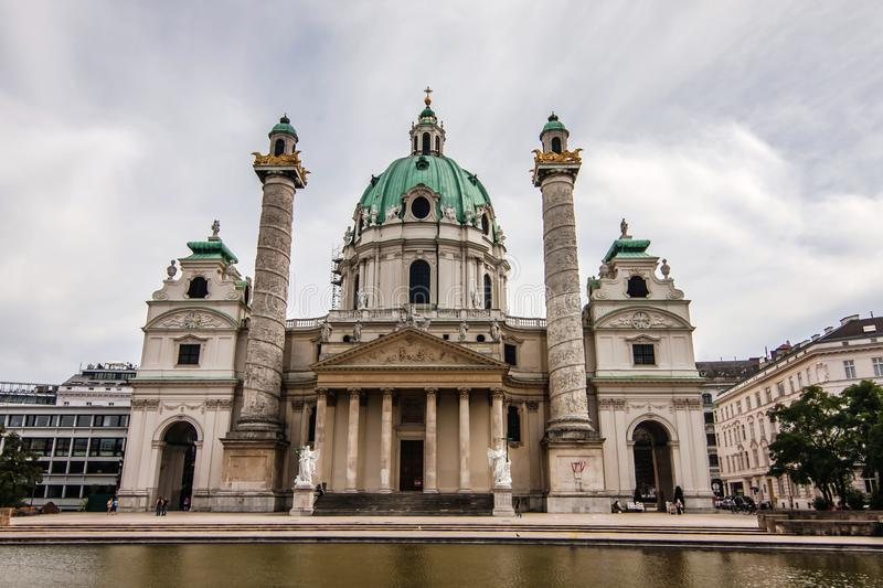 Karlskirche Karl Church, Vienna. The Rektoratskirche St. Karl Borromäus, commonly called the Karlskirche, is a baroque church located on the south side of royalty free stock photos