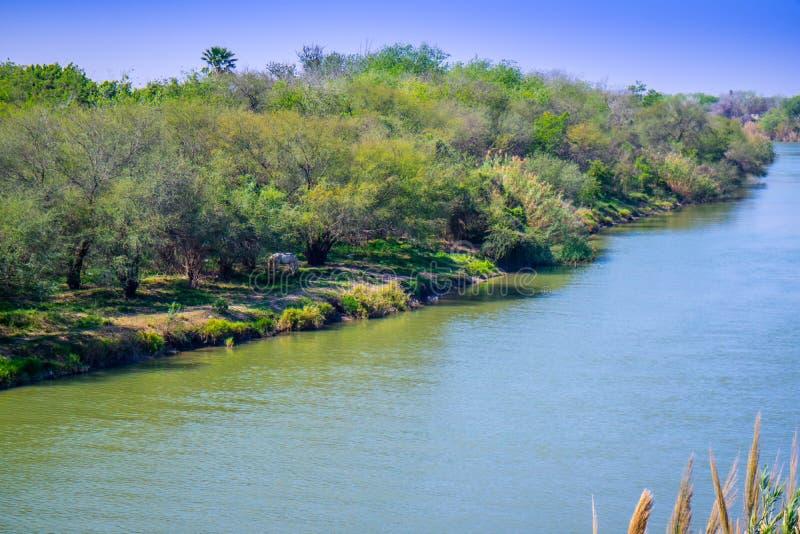 Rektorn Rio Grande River i Nuevo Progreso, Mexico arkivfoto