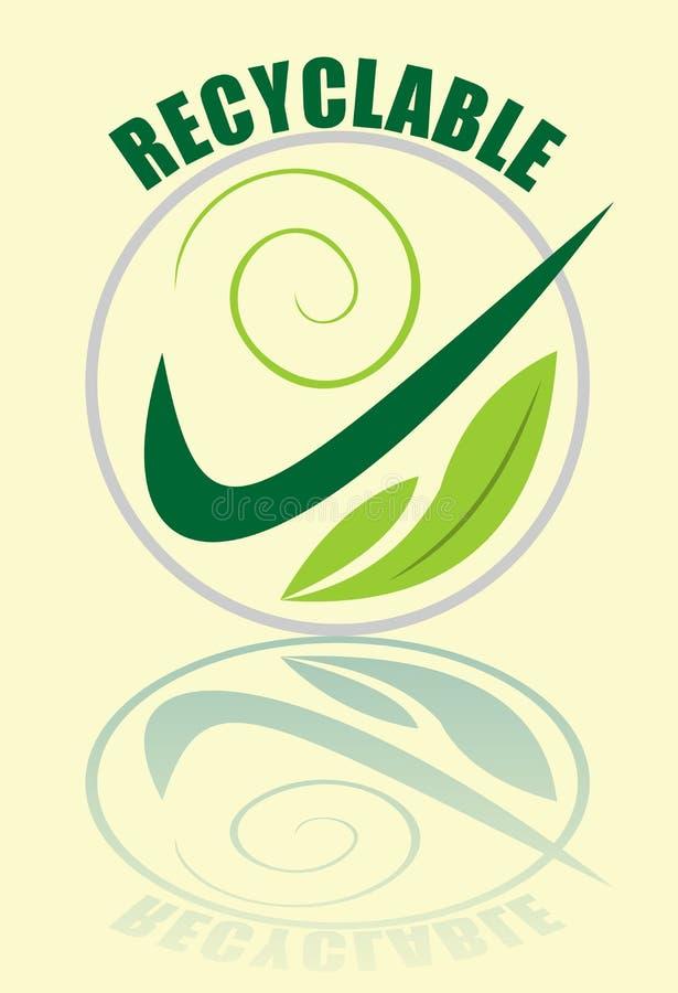 Rekupereerbaar etiket in groen samengesteld in cirkel, groen vinkje, spiraalvormige, lichtgroene bladeren, spiegelbeeld, logotype stock illustratie