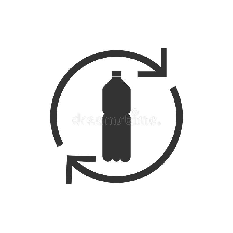 Rekupereerbaar plastic, Gerecycleerd flessenpictogram Vectorillustratie, vlak ontwerp vector illustratie
