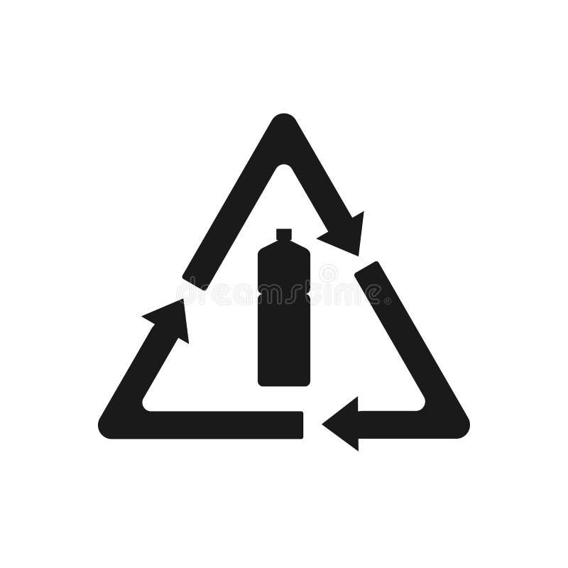 Rekupereerbaar plastic, Gerecycleerd flessenpictogram Vectorillustratie, vlak ontwerp royalty-vrije illustratie