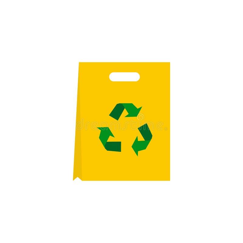 Rekupereerbaar plastic zakpictogram, vlakke stijl stock illustratie