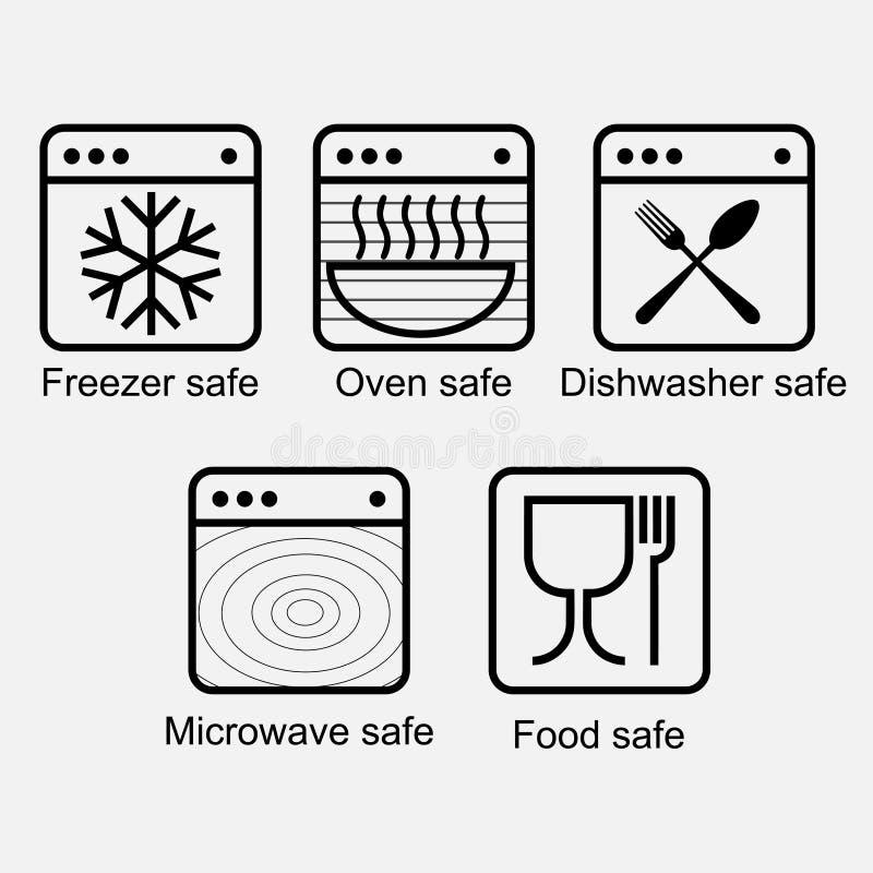 Rekvisita av matkontaktmaterial för att att se till matsäkerheten vektor illustrationer