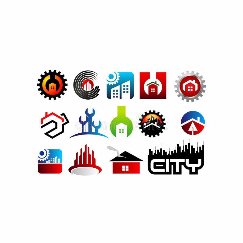 Rekvisita lägenhet, hus, hem, fastighet, logo, design för vektor för symbol för byggnad för arkitektursymbollöneförhöjning stock illustrationer