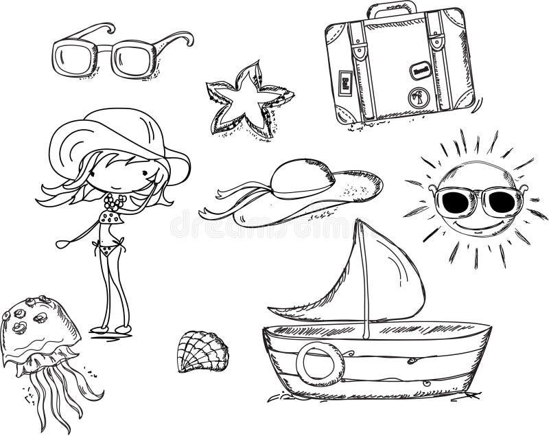 Relájese en la playa, doodle libre illustration