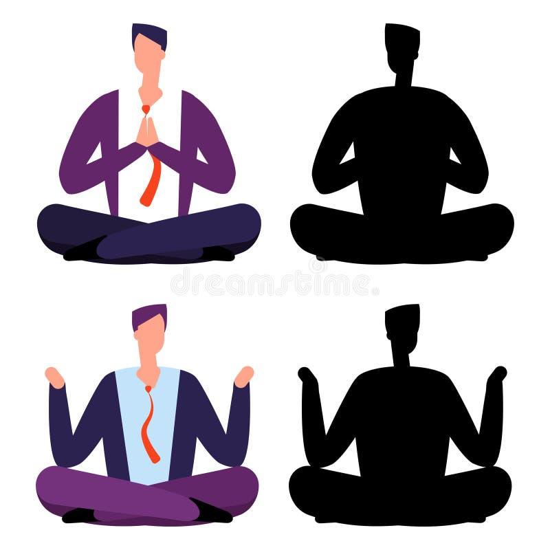 Relájese, los hombres de negocios de la historieta de la meditación Dos hombres que se relajan stock de ilustración