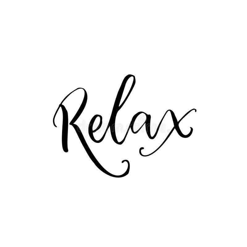 Relájese Palabra negra de la caligrafía aislada en el fondo blanco Cartel de la clase de la yoga, subtítulo de la meditación stock de ilustración