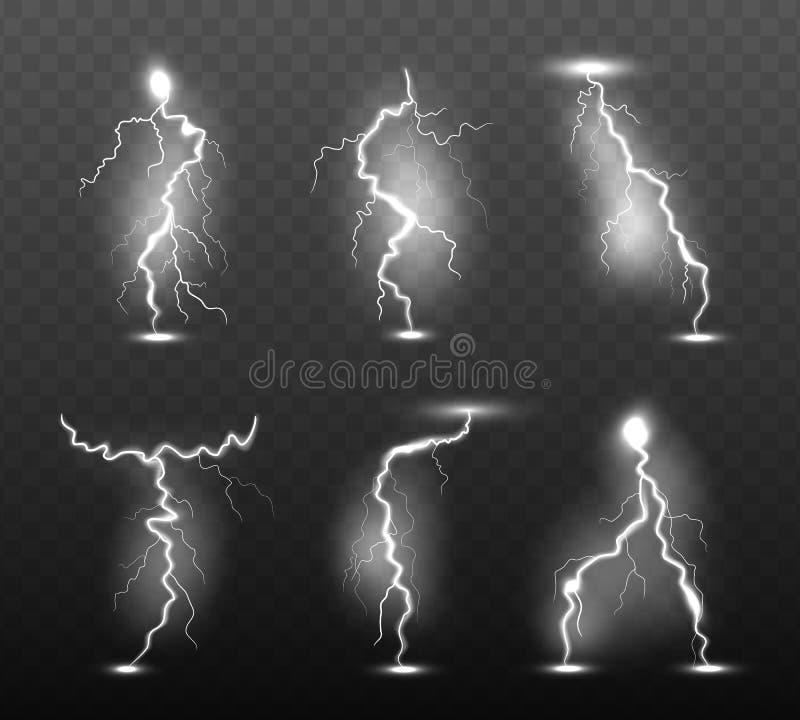 Relámpago de la noche Huelga de la lluvia del trueno de la electricidad de la energía del poder de los efectos luminosos del clim stock de ilustración