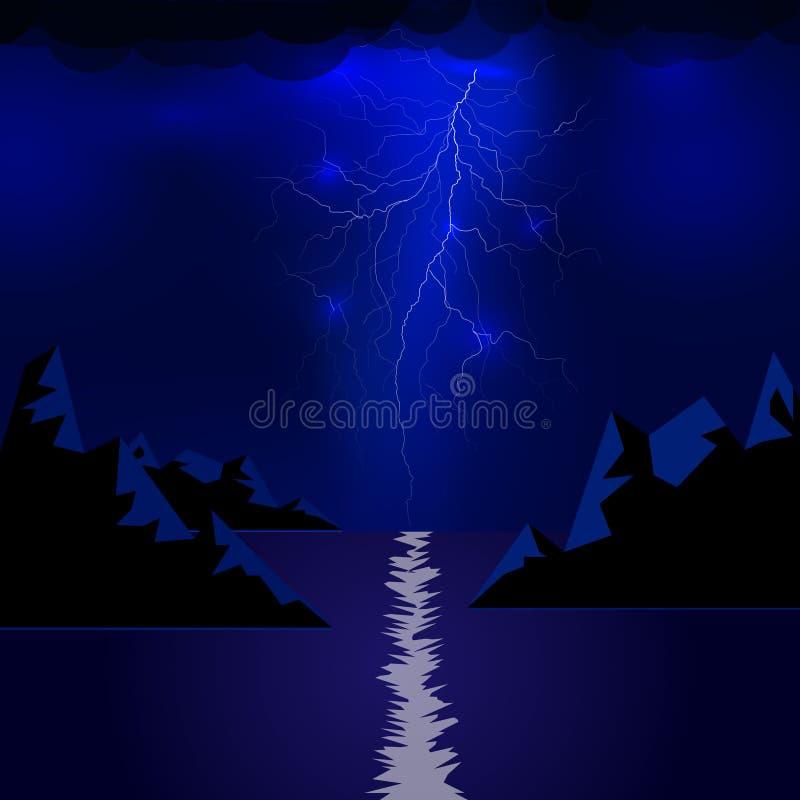 Relámpago de las montañas y del mar Chispa del trueno de la luz eléctrica del vector Tormenta de la ráfaga del relámpago azul o d stock de ilustración