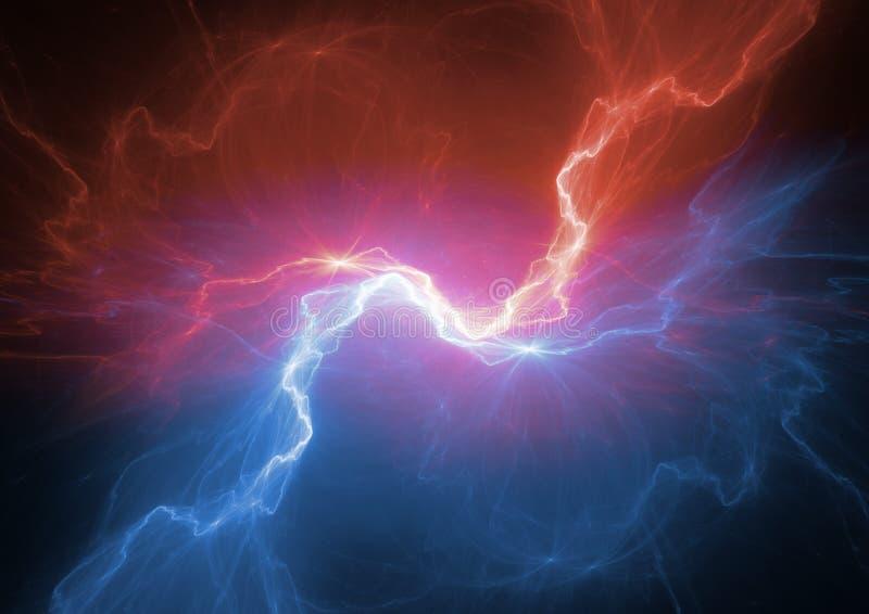 Relámpago del plasma del fuego y del hielo stock de ilustración