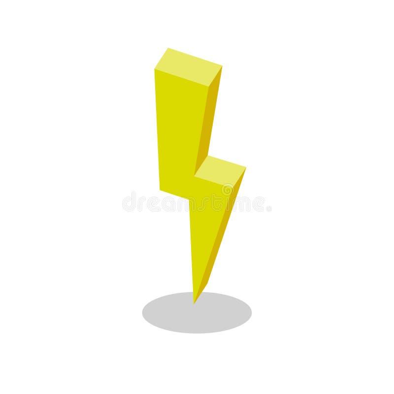 Relámpago, icono amarillo plano isométrico de la electricidad ejemplo colorido del vector 3d pictograma aislado en blanco stock de ilustración