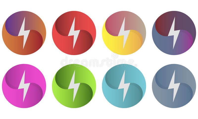 Relámpago multicolor del whith del logotipo de los círculos imagen de archivo