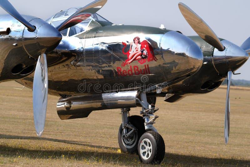 Relámpago P38 de Lockheed Combatiente americano de la Segunda Guerra Mundial imagen de archivo