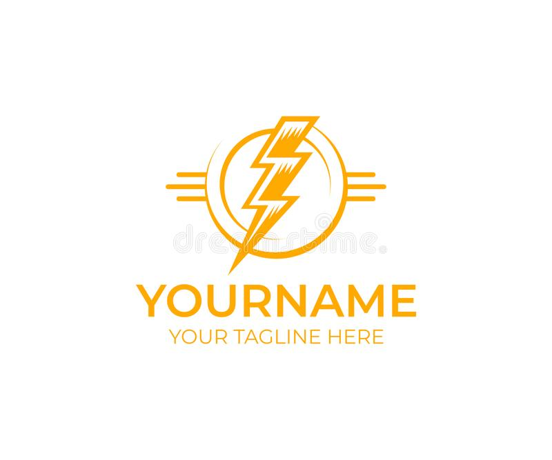 Relámpago y flash eléctricos, plantilla del logotipo Trueno, poder, energía y luz eléctricos, diseño del vector libre illustration