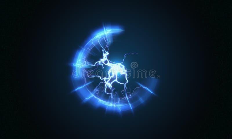 Relámpago y luz brillante en bola de la energía con el plasma esférica que irradia rayos eléctricos 3D rindió la ilustración stock de ilustración