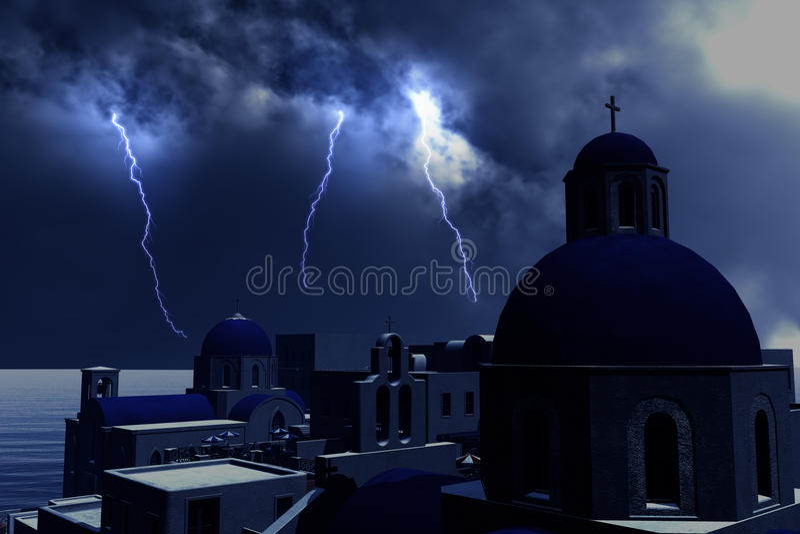 Relámpagos de la tempestad de truenos sobre el concepto de Grecia para el problema económico en Grecia ilustración del vector