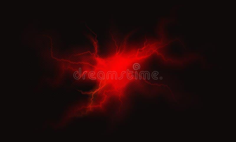 Relâmpago bonde vermelho fundo ardente do plasma ilustração do vetor