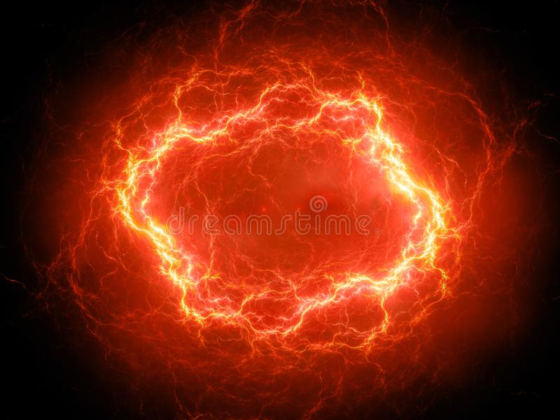 Relâmpago esférico impetuosamente de incandescência do plasma do de alta energia no espaço ilustração royalty free
