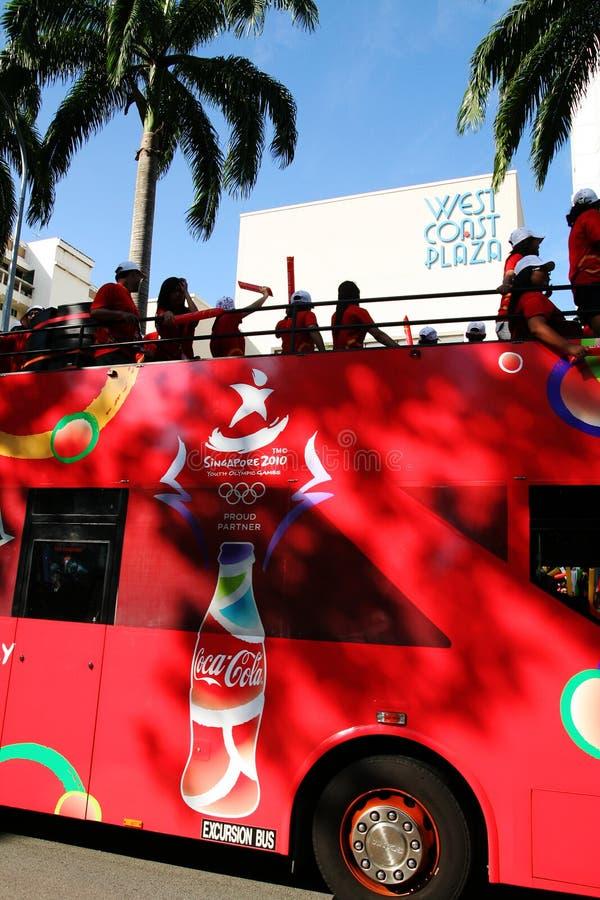 Relè Della Torcia Dei Giochi Olimpici 2010 Della Gioventù Immagine Editoriale