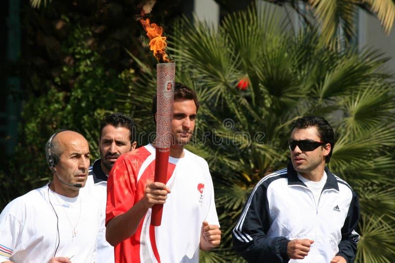 Relè olimpico della torcia a Atene fotografia stock libera da diritti