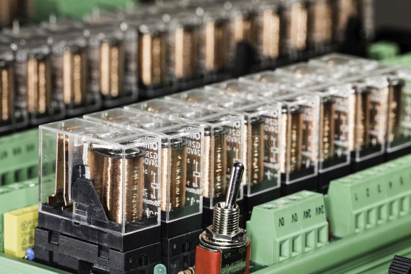 Relés eletromagnéticos fotografia de stock royalty free
