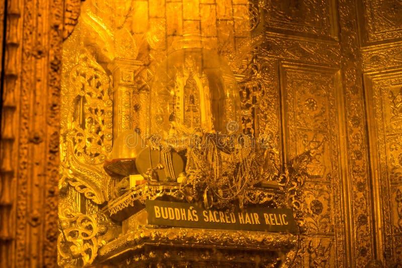 Relíquia sagrado do cabelo da Buda, no pagode de Botataung, Yangon, Myanmar imagem de stock