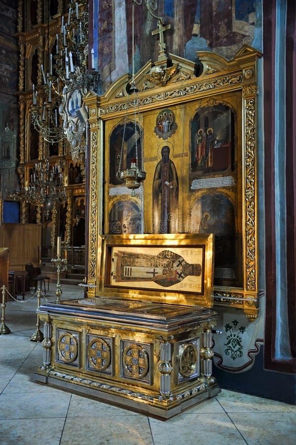 Relíquias do St inocentes de Alaska e de ícone de St Sergius de Rado foto de stock royalty free