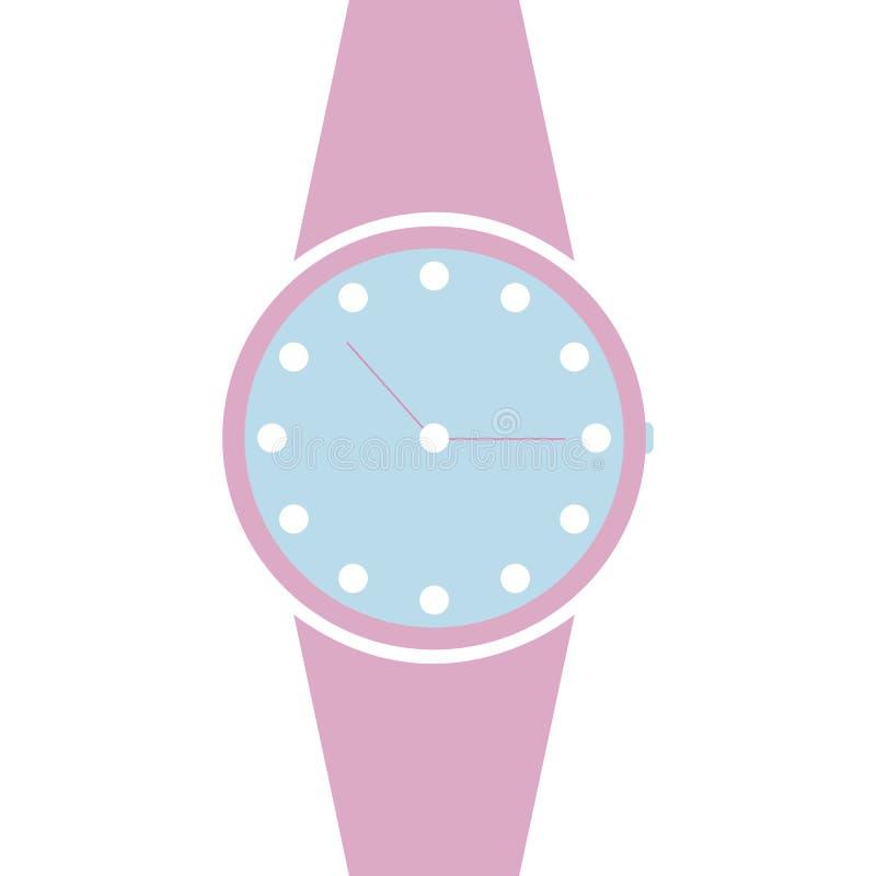 Relógio analógico vetorial em um ícone de pulso Símbolo de gerenciamento de tempo, cronômetro com seta de hora e minuto Ínolo ros ilustração royalty free
