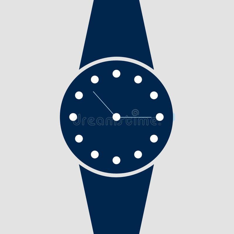 Relógio analógico vetorial em um ícone de pulso Símbolo de gerenciamento de tempo, cronômetro com seta de hora e minuto Ilustraçã ilustração do vetor