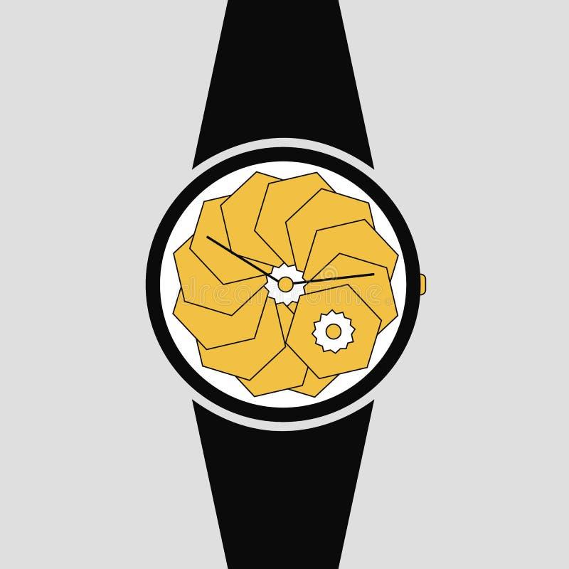 Relógio analógico vetorial em um ícone de pulso Símbolo de gerenciamento de tempo, cronômetro com seta de hora e minuto Preto sim ilustração stock