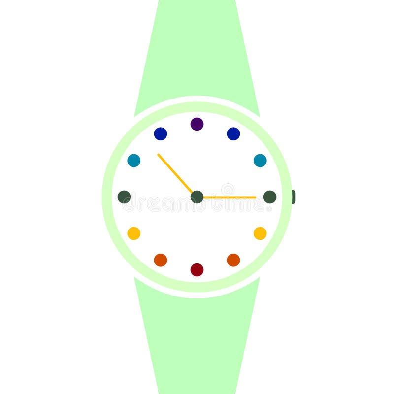 Relógio analógico vetorial em um ícone de pulso Símbolo de gerenciamento de tempo, cronômetro com seta de hora e minuto Simples i ilustração do vetor