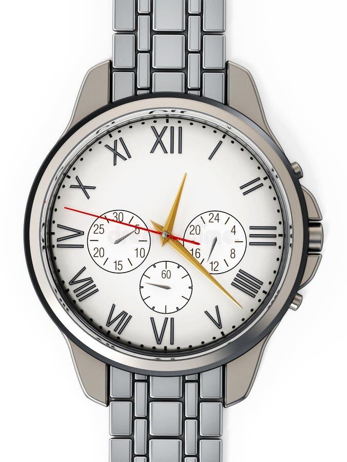 Relógio clássico do metal isolado no fundo branco ilustração 3D ilustração do vetor