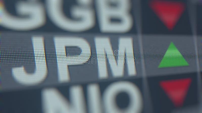 Relógio conservado em estoque da PERSEGUIÇÃO JPM de JPMORGAN, rendição 3D editorial conceptual ilustração stock