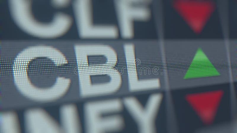 Relógio conservado em estoque das PROPRIEDADES CBL de CBL&ASSOCIATES, rendição 3D editorial conceptual ilustração stock