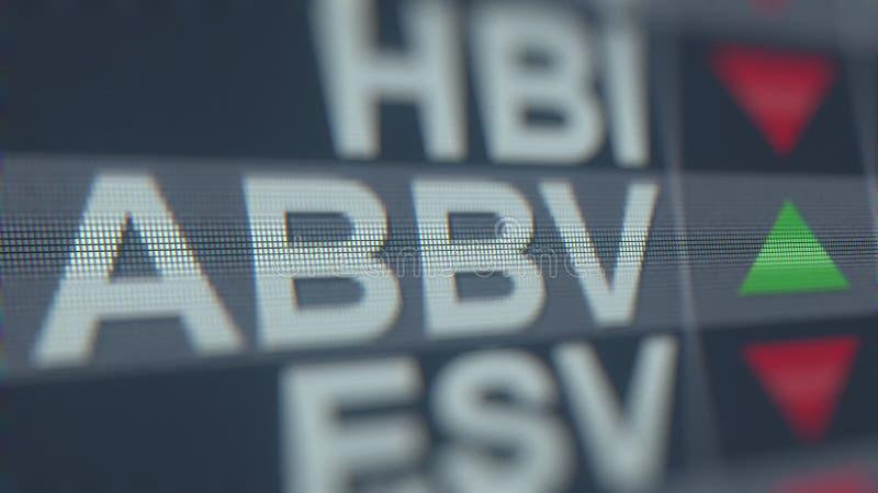 Relógio conservado em estoque de ABBVIE ABBV, rendição 3D editorial conceptual ilustração do vetor