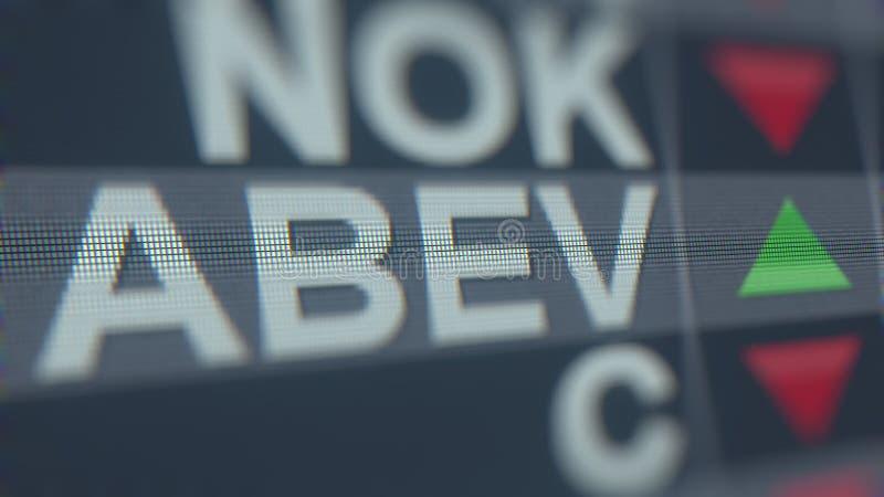 Relógio conservado em estoque de AMBEV ADR ABEV, rendição 3D editorial conceptual ilustração stock