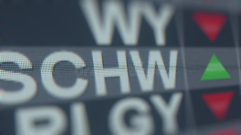 Relógio conservado em estoque de Charles Schwab SCHW na tela Rendição 3D editorial ilustração stock