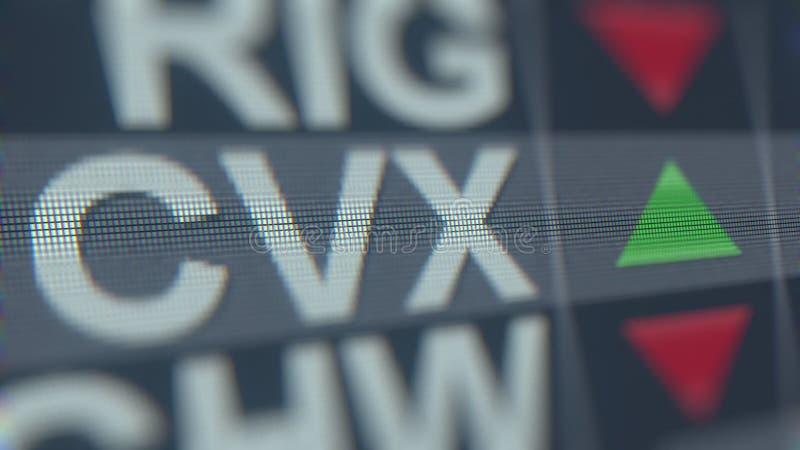Relógio conservado em estoque de Chevron CVX na tela Rendição 3D editorial ilustração royalty free
