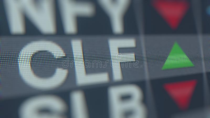 Relógio conservado em estoque de CLEVELAND-CLIFFS CLF, rendição 3D editorial conceptual ilustração do vetor