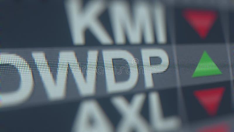 Relógio conservado em estoque de Dowdupont DWDP na tela Rendição 3D editorial ilustração stock
