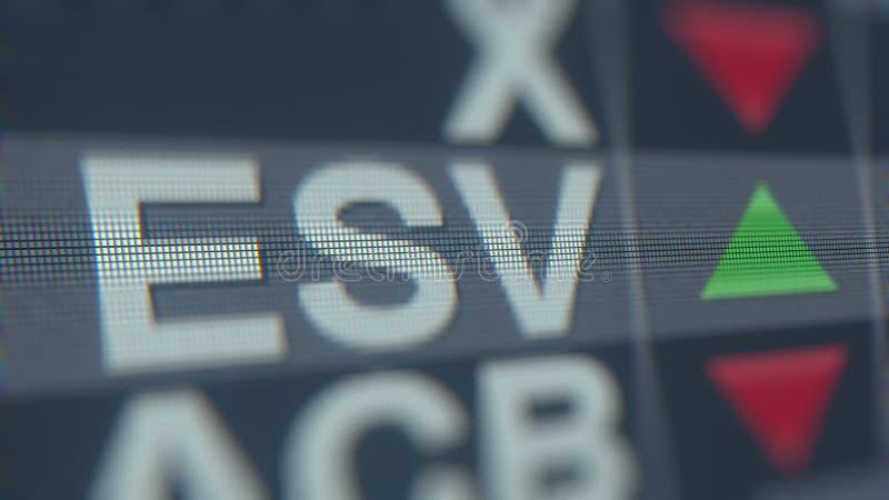 Relógio conservado em estoque de Ensco ESV na tela Rendição 3D editorial ilustração royalty free