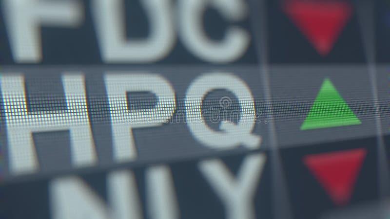 Relógio conservado em estoque de HP HPQ na tela Rendição 3D editorial ilustração stock