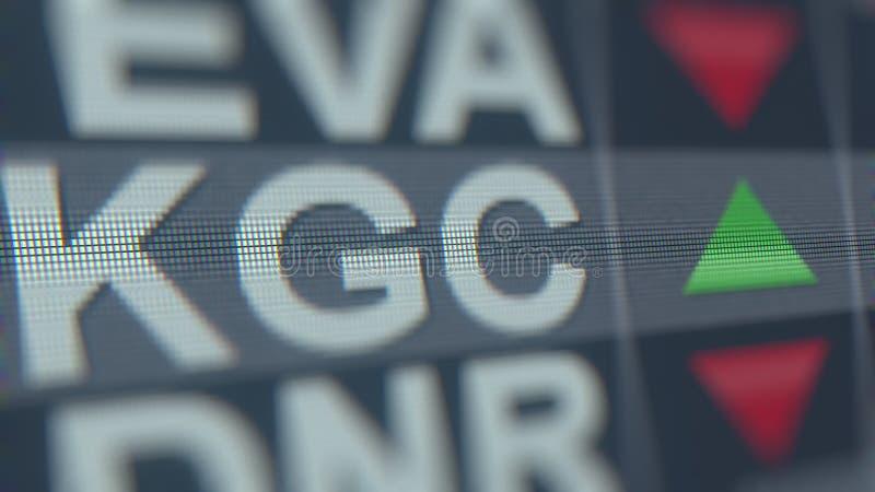 Relógio conservado em estoque do OURO KGC de KINROSS, rendição 3D editorial conceptual ilustração do vetor