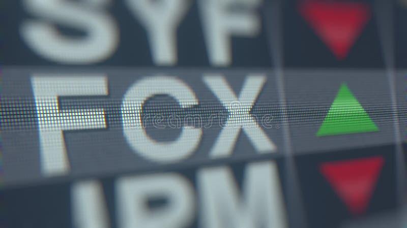 Relógio conservado em estoque do porto franco-Mcmoran FCX na tela Rendição 3D editorial ilustração stock