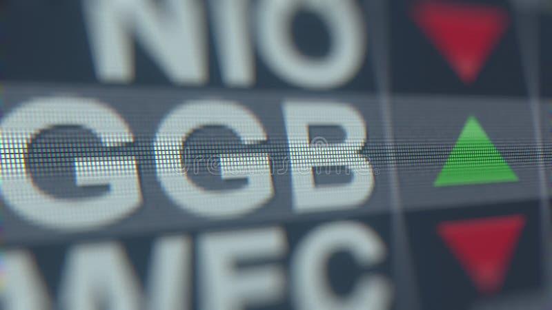 Relógio da bolsa de valores de Adr GGB de Gerdau Rendição 3D editorial ilustração stock