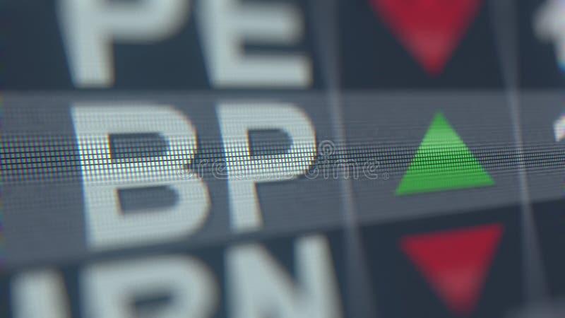 Relógio da bolsa de valores de BP ADR BP Rendição 3D editorial ilustração do vetor
