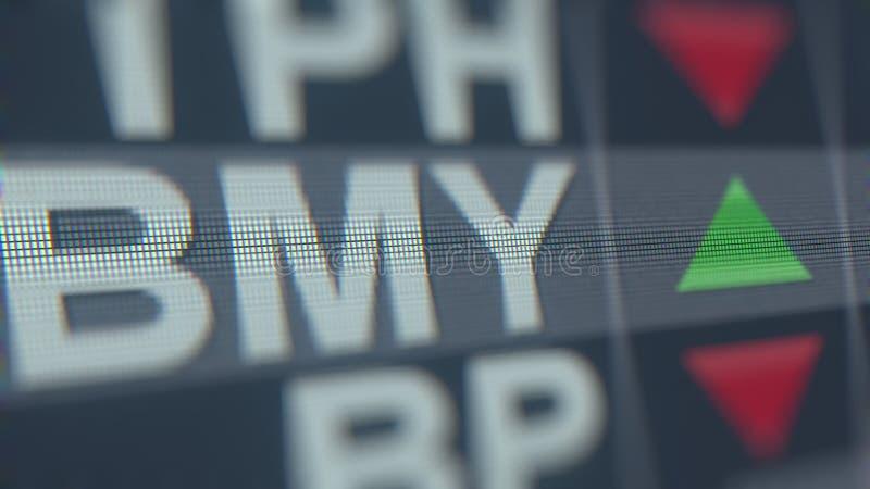 Relógio da bolsa de valores de Bristol-Myers Squibb BMY Rendição 3D editorial ilustração royalty free